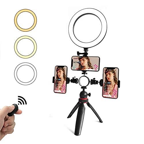 Selfie Ring Light con trípode y soporte para teléfono, 3 modos de iluminación Anillo de cámara de escritorio para autorretrato, maquillaje, transmisión en vivo, iPhone compatible, compatible con Andro