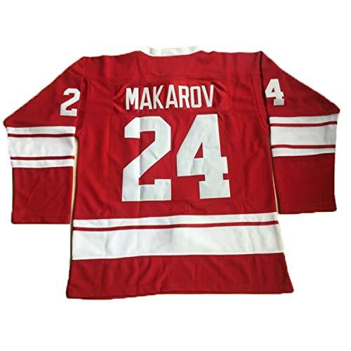1980 USSR CCCP Russian Ice Hockey Jersey #20 Vladislav Tretiak #24 Sergei Makarov Stitched Movie Hockey Jersey Red S-3XL (24 Makarov Red, X-Large)