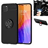 Huawei Y5P / Huawei Honor 9S Case,Silicone Shockproof Cover,zinc Alloy 360° Rotating Kickstand car Holder Ultra Thin Protection Scrub Soft case,for Huawei Y5P / Huawei Honor 9S (Black/Black)