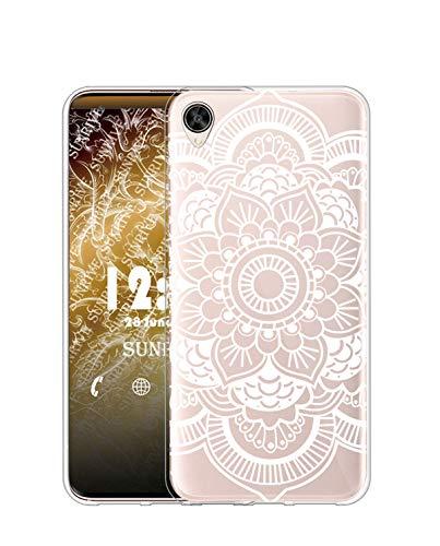 Sunrive Kompatibel mit Oppo R7s Hülle Silikon, Transparent Handyhülle Schutzhülle Etui Hülle (TPU Blume Weiße 2)+Gratis Universal Eingabestift MEHRWEG