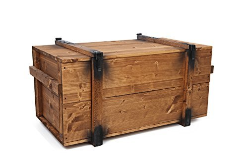 Uncle Joe´s Truhe Holzkiste, 85 x 45 x 48 cm, Holz, Hellbraun, Vintage, Shabby chic Couchtisch, braun, 85x45x48 cm