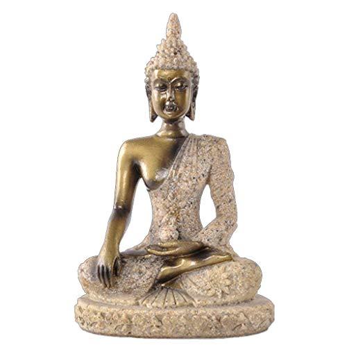 CHOUCHOU Shelves Buddha Statue Nature Sandstone Thailand Buddha Sculpture Hindu Fengshui Figurine Meditation Miniature Home Decor (Color : B),Colour:A Flower Pot Rack (Color : A)
