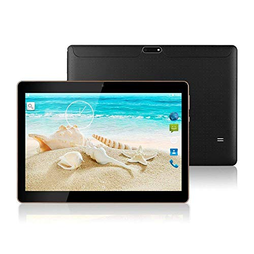 """10.1"""" Inch Android Tablet PC,3G Unlocked Phablet 4GB RAM 64GB Storage with Dual sim Card Slots and Cameras, Tablet PC with WiFi, Bluetooth,GPS(Metallic Silver) (Matte Black)"""