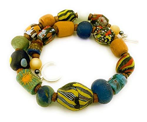 Perlenkette Halskette afrikanische KroboTradeBeads Naturperlen mehrfarbig, Gesamtlänge: ca. 47-48 cm