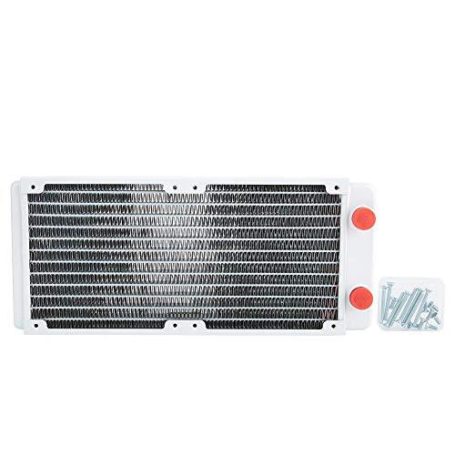 Radiador de refrigeración por agua, 240 mm Computadora Refrigeración por agua Disipador de calor de cobre blanco con 12 tubos, PC Tubo refrigerado por agua Fácil de instalar, Adecuado para sistemas de