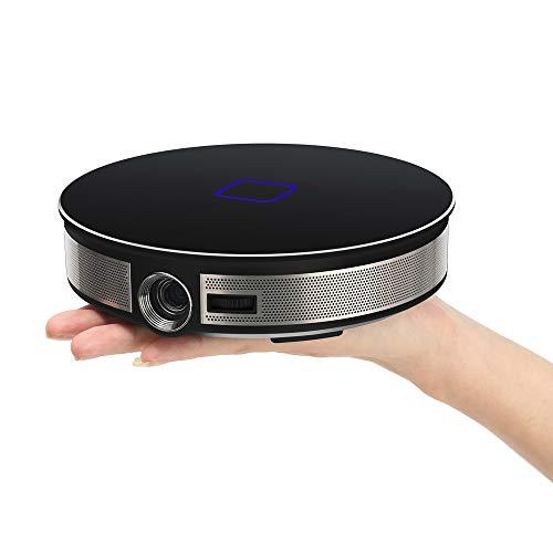RK3368 Beamer Tragbar Projektor Aktualisierte 3500 Lumen LED 20000 Stunden Heimkino Unterstützt Full HD Unterstützt 1080P TV Box IOS Android Handybeamer Mehrweg 12000mAh (Schwarz)
