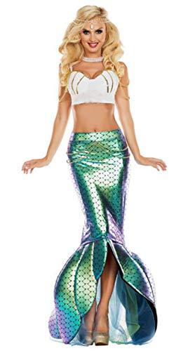 fixiyue Halloween Adulto Sirena Princesa Vestido Vestido de Lentejuelas Traje de Juego Sexy Pecho Envuelto Traje de Noche de actuación XL Set de Cuatro Piezas