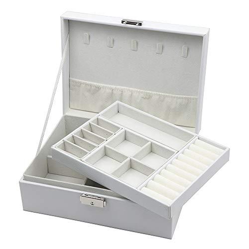 TONJA ジュエリーボックス 大容量 2段 宝石箱 ジュエリー収納 ネックレス収納 ジュエリーケース 収納ケース レディース プレゼント アクセサリーボックス 鍵付き 贈り物 (ホワイト)