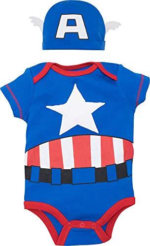 Marvel Captain America Baby Boys Costume Short Sleeve Bodysuit & Cap Set Blue, 18 Months