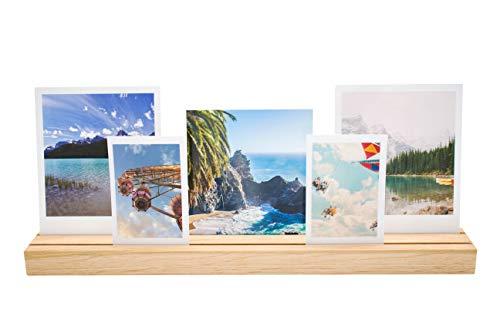 WoodPrinzipal Bilderrahmen, Fotohalter aus Holz, Fotorahmen, Kartenhalter aus Eichenholz, Vintage, Deko für Zuhause, 35 X 4 cm, handgefertigt, Natur