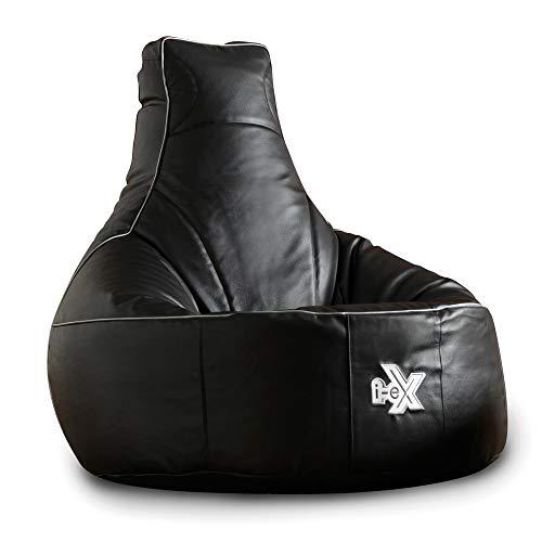 i-eX Puf para Videojuegos, Negro, 91cm x 88cm, Grande, Cuero sintético,...