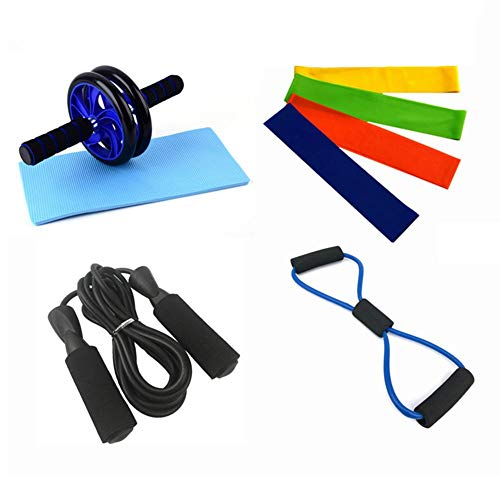 Fourseasons 8 in 1 Bauchradsatz Knieschoner Ab Roller Workout Kit Fitness Bauchtrainingsgeräte