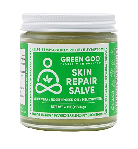 Green Goo Natural Skin Care Salve, Skin Repair and Protection, Acne Scar Removal and Spot Treatment Cream, 4-Ounce Jar
