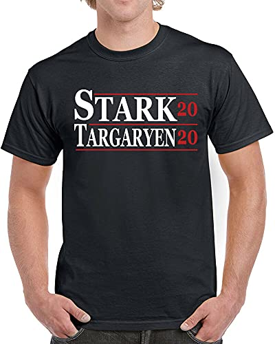 SHUBIAO Stark Targaryen Mens T-Shirt 2020 Election Funny Game Dragon Thrones Sigil Black M