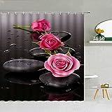 Zen Piedra OrquíDea Rosa Cortina De Ducha Conjunto BañO DecoracióN Suministros Tela MáQuina Lavable con Ganchos Tela Cortina 3D ImpresióN-W180xH180cm