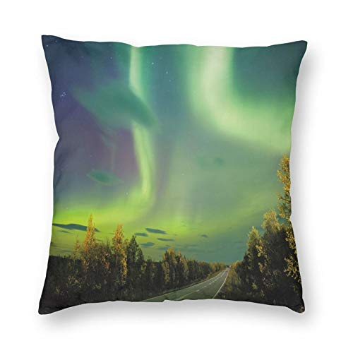 GULTMEE Highway Road Nordic Rays of Sky Surreal Sun Atmosphere Image Square Printed Cotton Cushion Cover,Throw Pillow Case, Slipover Pillowslip for Home Sofa Couch Chair Back Seat, 18x18 in