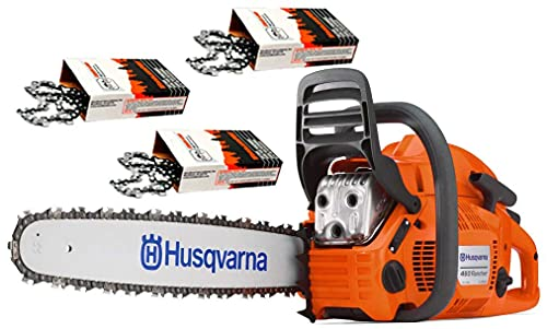"""Husqvarna 460 Rancher (60cc) Chainsaw With 24"""" Bar and Chain Plus 3 WoodlandPRO Chain Loops"""