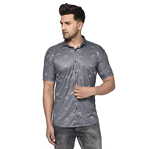 Villain Digital Printed Stretchable Casual Shirts for Mens (Half Sleeves)- Grey Color