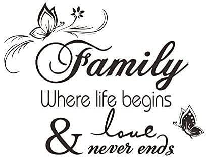 Calcomanías De Pared La Vida Comienza Con La Familia Y El Amor Nunca Terminará Hogar Art Deco Pegatinas Extraíbles Vinilo Flores Negras