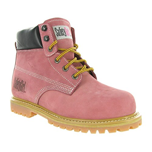 Safety Girl Steel Toe Work Boots - Light Pink -Leather, 7M