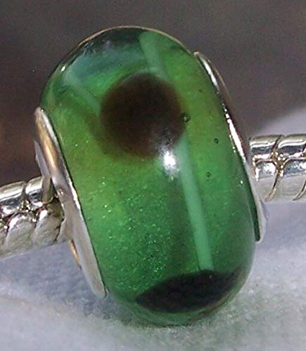 Mint Green Brown Dot Lampwork Glass Bead Gift for Silver European Charm Bracelet Fashion Jewelry for Women Man Dots Lampwork Glass Bead