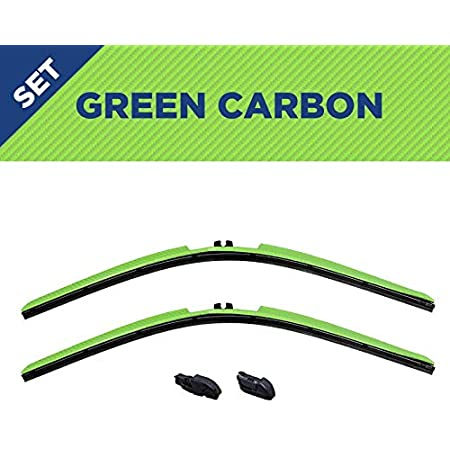 Set of two 14-Inch Wiper Blades and Clips - Fits All Models//All Types Clix Wipers for Jeep Wrangler//Unlimited Black Carbon Fiber Series All-Weather Design 1996-2017