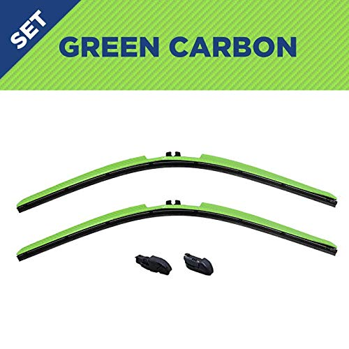 Clix Wipers - Green Carbon Fiber Automotive Wiper Blades - Universal Clip On Replacement Windshield-Wipers - All-Weather - Wiper Blade Starter Set With C Clips (20'/18')