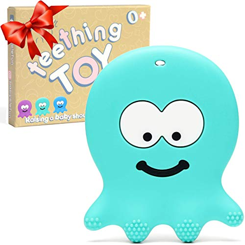 Best Teething Toys for Babies 0-6 Months - BPA Free Silicone - Easy to Hold and Clean, Soft and Highly Effective Octopus Teether, Best for Freezer, Cool 6-12 Months Stocking Stuffers Baby Chew Toys