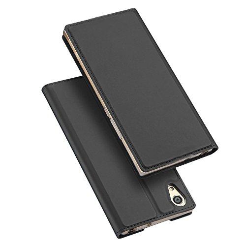 Preisvergleich Produktbild Conie EF38267 Electroplated Flip Case Kompatibel mit Sony Xperia L1,  PU Leder Hülle Flip Wallet Cover Kartenfächer Standfunktion Magnetisch für Xperia L1 Etui Deep Black