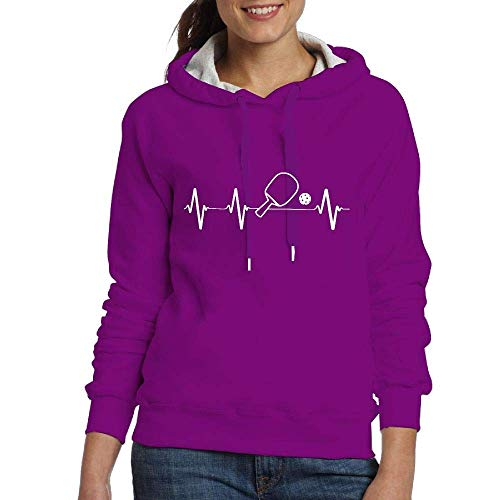 LMNcrop Pickleball Paddle And Ball Heartbeat Womens Casual Adult Long Sleeve Hoody