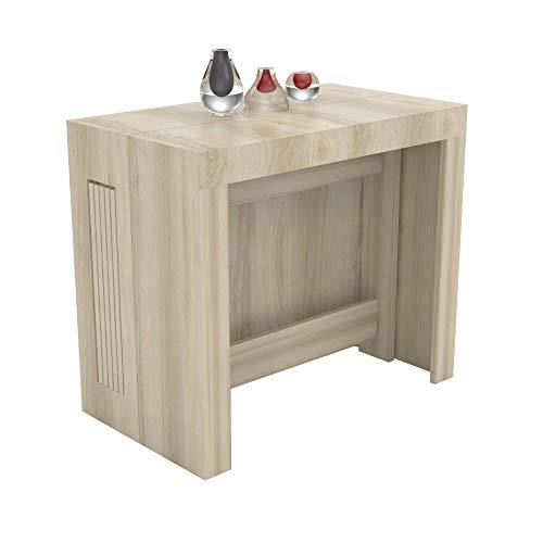 VE.CA.s.r.l. Tavolo consolle allungabile Karen con Porta allunghe in Legno - allungabile da 51,5 cm 300 cm, in 5 colorazioni - arredo Cucina casa Design (Olmo)