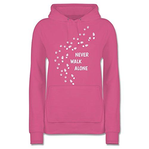 Hunde - Never Walk Alone Pfotenabdrücke - S - Rosa - shirttracer Hoodie - JH001F - Damen Hoodie und Kapuzenpullover für Frauen
