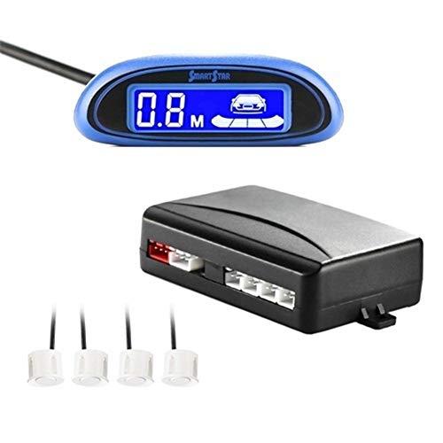 Seguridad Aparcamiento Sensor 4 Sensores Led Display Girado Reserva del Radar De Asistencia del Monitor del Detector Sistema Pantalla Azul Aparcamiento Electromagnético (Color Name : White)