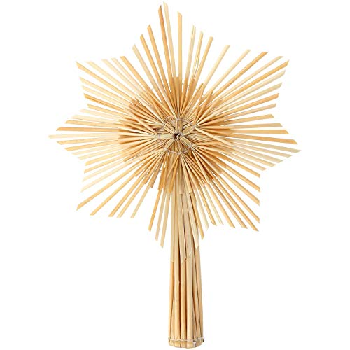 com-four® Stern Christbaumspitze aus Stroh, Weihnachtsbaumspitze Stern aus Stroh für Weihnachten, Tannenbaumspitze für Ihren Christbaum, 24,5 cm