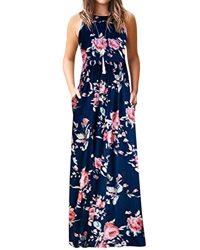YOINS Vestido largo de verano para mujer, vestido de playa, sexy, sin mangas, informal, vintage, vestido de noche, cuello redondo 7 S