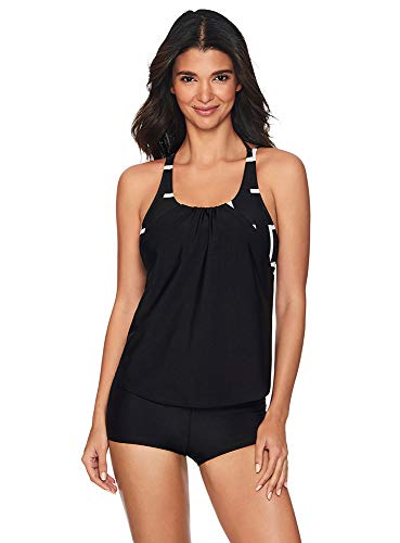 Reebok Lifestyle Women's Swimwear Deconstruction Tankini Bathing Suit Top, Black/White, Large