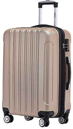 BEIBYE TSA Schloß 2050 Hartschale Trolley Koffer Reisekoffer in M-L-XL-Set (Champagner, 55cm)