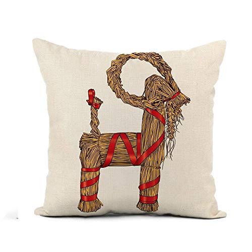 Funda de almohada Yule Cabra Navidad escandinava y norte de Europa tradicional detallada funda de almohada de 40,6 x 40,6 cm