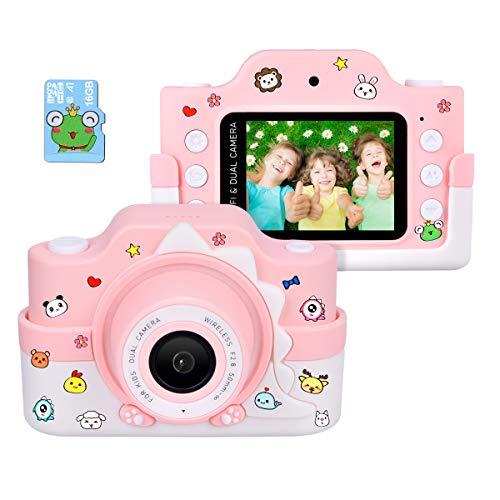 """Funkprofi WiFi Digitalkamera für Kinder mit Cartoon Schutzhülle 2 Objektive 24 MP HD 2.0"""" IPS-Bildschirm mit Aufklebern Digitalkamera als Geschenk Spielzeug (Rosa+ 16 G Karte)"""
