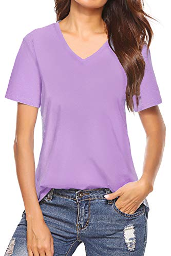 Inspop Women's Short Sleeve V-Neck Cotton Shirts Basic Tee T-Shirt Tunic Tops for Daily Wear Yoga Athletic Sleepwear Lavender