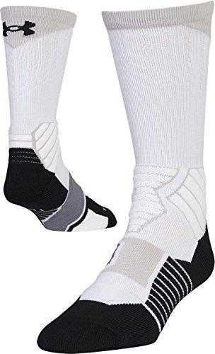 Under Armour Drive Basketball Crew Socks, 1-Pair, White/black, Medium