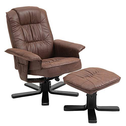 IDIMEX Relaxsessel mit Hocker Charly, Fernsehsessel, Drehsessel, Polstersessel, Sessel mit Stoffbezug in Vintage braun