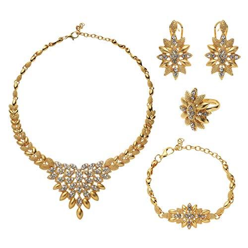 xtszlfj Conjuntos de Joyas de Color Dorado de 24 Quilates para Mujer, Collar de Lujo, Pendientes, Pulsera, Anillo, India, África, Nigeria, Regalos de Boda, Conjunto de Etiopía