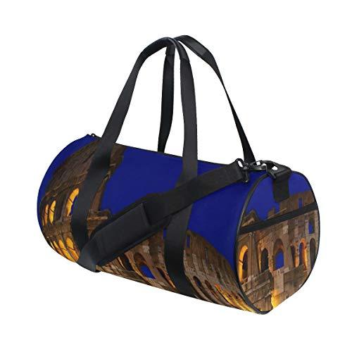 ZOMOY Sporttasche,Blaues Amphitheater Roman Colosseum Night Rome berühmte Bogene Architektur Kopie Flavian Stadt,Neue Bedruckte Eimer Sporttasche Fitness Taschen Reisetasche Gepäck Leinwand Handtasche