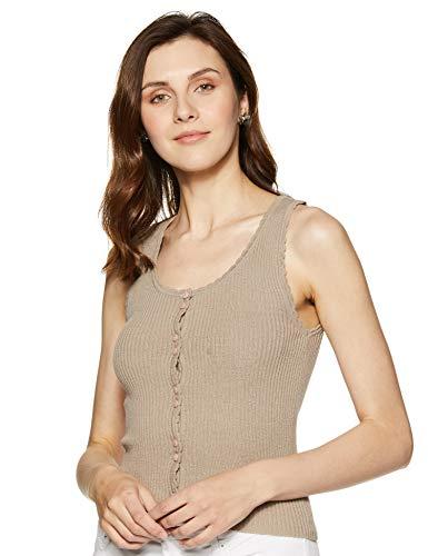 Forever 21 Women's Plain Regular fit Shirt (64853_Taupe L)