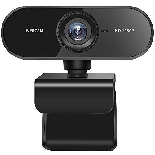 Feicuan Webcam 1080P HD con Micrófono, USB Webcam para PC Portátil Ordenador de Mesa, Vista Gran Angular de 110º Cámara...