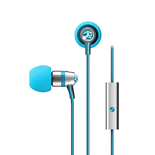Crystal by MEE audio In-Ear Headphones with Microphone Made with Swarovski Crystals, Turquoise