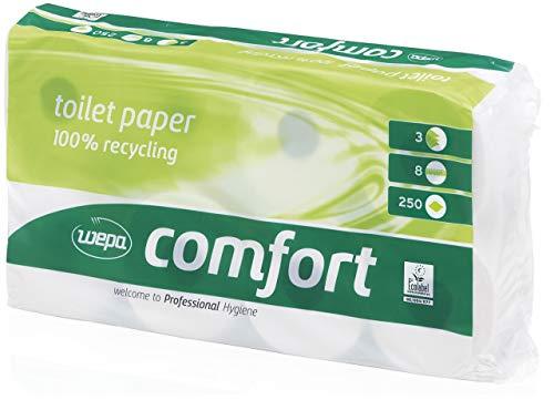 Wepa 037060 Toilettenpapier Comfort, 3-lagig, hochweiß, 3er Set