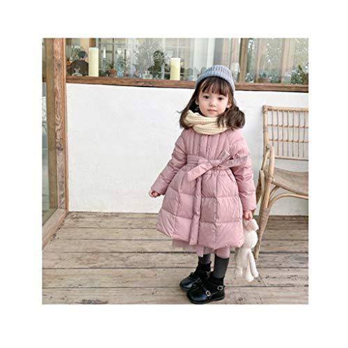 HJHJ Piumino Cappuccio Leggero Lungo della Ragazza del Cappotto del Cappuccio di Inverno Pacchetto del Cappotto di Mezzanotta (Color : Pink, Dimensione : 120)