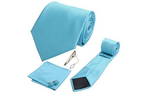 Coffret Varadero - Cravate bleu céruléen, boutons de manchette, pince à cravate, pochette de costume